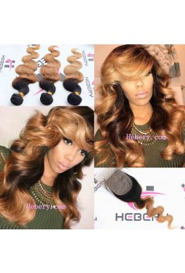 1b/27 color ombre Body wave Brazilian virgin hair weaves 3 bundles--hh027