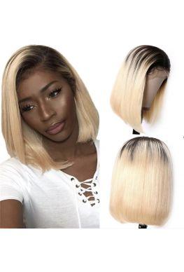 1b/613 silky straight bob lace front wig brazilian virgin human hair--hb912