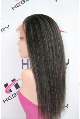 Kinky straight with grey mixed full lace wig brazilian virgin human hair--hb190