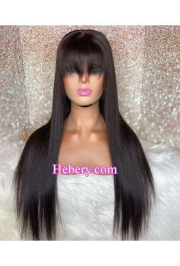 silky straight with Bangs 360 wig Brazilian virgin human hair bleached knots baby hair--hb336