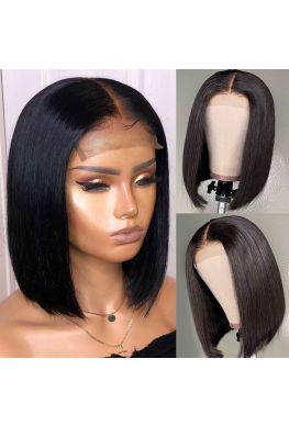 Blunt cut Bob 4x4 Lace closure wig Indian virgin human hair--hb404