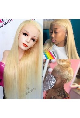 #613 blonde silky straight Pre plucked Full lace wig Brazilian virgin human hair--hb100