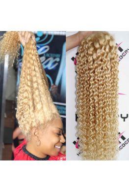 #613 blonde deep wave Pre-plucked Full lace wig Brazilian virgin human hair--hb191