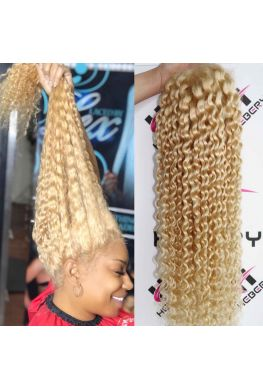 #613 blonde deep wave Pre-plucked Lace Front wig Brazilian virgin human hair--hb1911