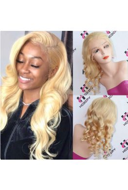#613 color loose wave Pre plucked Full lace wig Brazilian virgin human hair--hb333