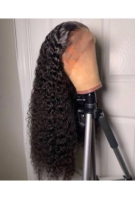 Pre plucked 6 inches parting Glueless Lace front wig 150% density Brazilian virgin curly--hb999