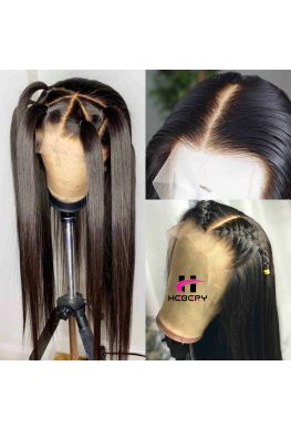 Pre plucked 6 inches parting Glueless Lace front wig 150% density Brazilian virgin silky straight--hb888