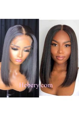 Pre plucked middle parting bob 13x6 wig Glueless Lace front 150% density Brazilian virgin human hair--hb857