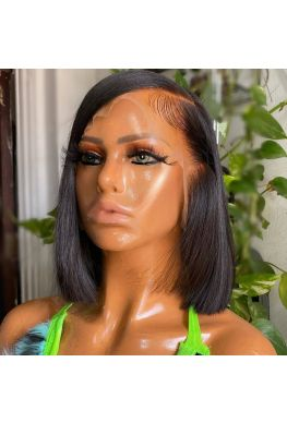 Pre plucked side parting bob 13x6 wig Glueless Lace front 150% density Brazilian virgin human hair--hb696