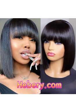 Bangs bob straight hair 13x6 wig Pre plucked Glueless Lace front 150% density Brazilian virgin human hair--hb648