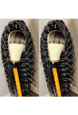 Bangs deep wave 360 wig unprocessed Brazilian virgin hair bleached knots baby hair--hb877