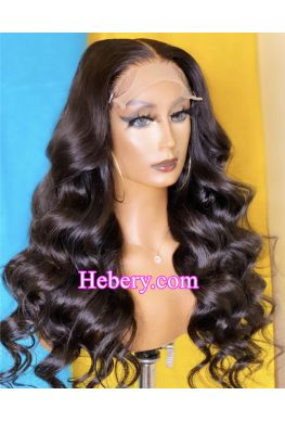 5x5 HD Lace Closure wig undetectable skin melt Glueless wig big wave 10A Brazilian virgin human hair Pre plucked--hd557