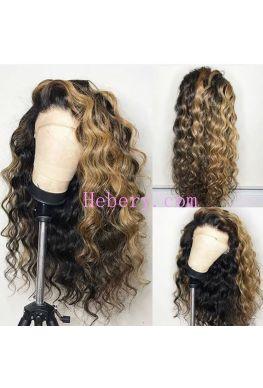 Blonde highlights Beyonce wave 360 wig pre plucked Brazilian virgin hair--hb309