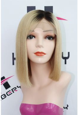 Ombre color glueless full lace silk top wig Indian virgin human hair--hb050