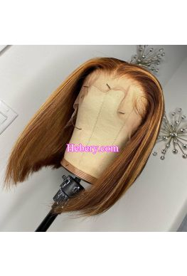 Blonde Hightlights Bob 13x6 Lace front Wig Brazilian virgin human hair--hb969