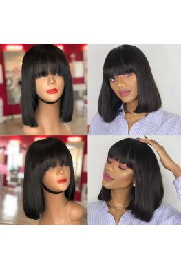 Indian virgin silky straight hair blunt cut bob machine made wig with Chinese bang-hb030