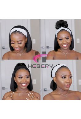 Headband Wig Straight Bob Brazilian virgin human hair Affordable wigs--hbw10