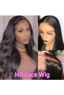 HD Lace Front Wig Glueless 13x6 wig 10A Brazilian virgin Body Wave Pre plucked--hd333