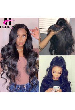 Brazilian virgin Body Wave bleached knots Lace front wig--hb907