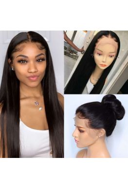 Brazilian virgin natural color silky straight silk top full lace wig--hb101