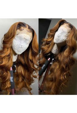 Ombre brown wave pre-plucked 360 glueless wig Brazilian virgin human hair--hb389