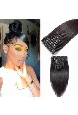 Silky straight clips in hair extensions Brazilian virgin human hair--hc07
