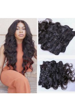 Body wave human hair clips in hair extensions--hc03