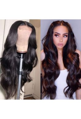 Soft wave 4x4 Lace closure wig Indian virgin human hair--hb434
