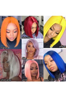 colorful bob summer hair pre plucked lace front wig brazilian virgin human hair--hb987