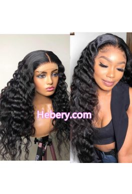 370 wig Crimped wave pre plucked Brazilian virgin human hair--hb379