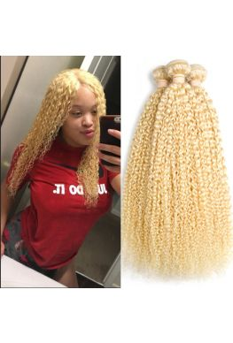 Brazilian Virgin 613 blonde color curly 3 Bundles--hw666