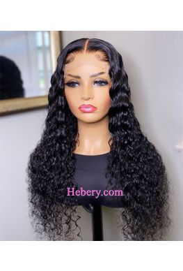 5x5 HD Lace Closure wig undetectable skin melt Glueless wig Curly hair 10A Brazilian virgin human hair Pre plucked--hd553