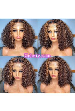 Highlight color Curly bob pre plucked hairline 360 wig Brazilian virgin human hair bleached knots--hb367