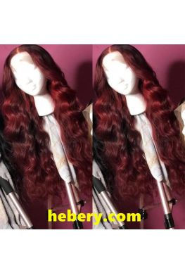 Dark red Pre plucked Natural looking wave 360 wig Brazilian virgin human hair--hb373