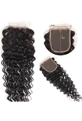 4X4 lace closure Brazilian Virgin deep wave--hc08