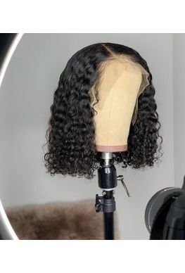 Deep curly bob pre-plucked 360 wig unprocessed brazilian virgin bleached knots baby hair--hb666