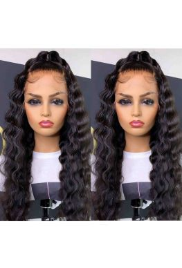 Pre plucked 6 inches parting Glueless Lace front wig 150% density Brazilian virgin deep wave--hb898