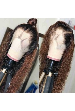Pre-plucked ombre brown drop curly 360 wig Brazilian virgin bleached knots--hb565