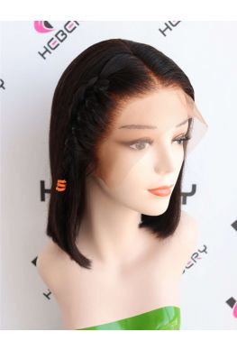 Fake scalp Pre-plucked Glueless Lace front wig 150% density Brazilian virgin human hair--hb456