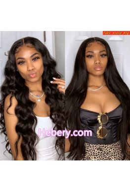 Fake scalp 13x6 Glueless wig Pre-plucked Brazilian virgin human hair bleached knots--hf001
