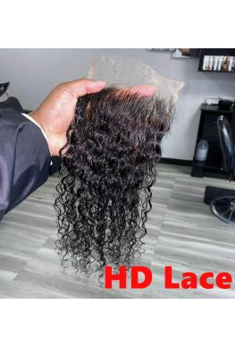 HD Lace Closure 10A grade Brazilian virgin human hair Pre-plucked bleached knots--hd345
