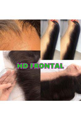 HD Lace Frontal 10A Brazilian virgin human hair Pre-plucked bleached knots--hd678