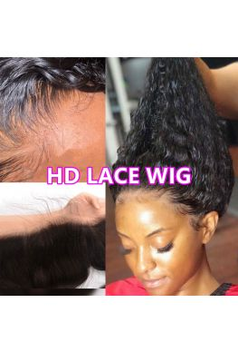 HD Lace Front Wig Glueless 13x6 wig 10A Brazilian virgin Curly Pre plucked--hd999