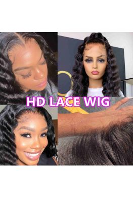 HD Lace Front Wig 10A Brazilian virgin Deep Wave Glueless 6 inches parting Pre-plucked 150% density--hd666