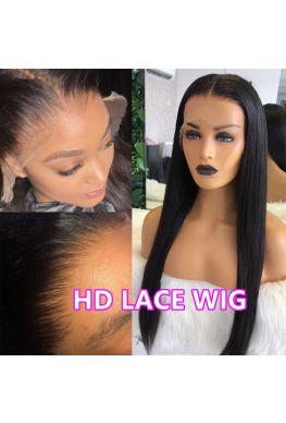HD Lace Front Wig 10A Brazilian virgin Silky Straight Pre-plucked 150% density--hd888