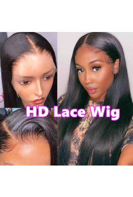 HD Lace Front Wig Glueless 13x6 wig 10A Brazilian virgin Silky Straight Pre plucked--hd888