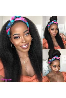 Headband wig kinky straight hair Brazilian virgin human hair Affordable wigs--hbw02