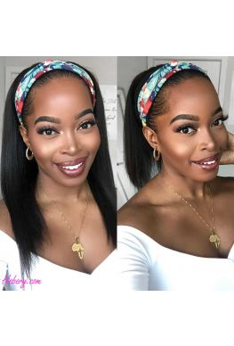 Headband wig lighy yaki hair Brazilian virgin human hair Affordable wigs--hbw01