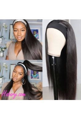 Headband wig silky straight hair Brazilian virgin human hair Affordable wigs--hbw03