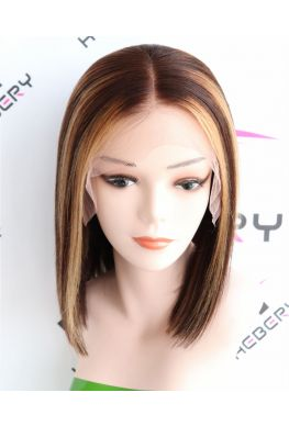 Hightlights bob 13x6 wig middle parting Pre plucked Glueless Lace front 150% density Brazilian virgin human hair--hb969